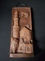 28x12x4, Jakab L.kerámia falidísz, Sopron, Tűztorony