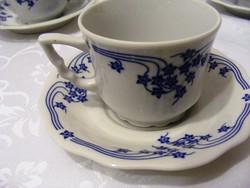 Ritka! Zsolnay hibátlan porcelán kávés készlet, elegáns kék mintával, 6 személyes  garnitúra
