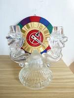 Retro,vintage üveg kétágú gyertyatartó