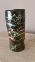 Retro csorgatott mázas, rücskös kerámia váza eladó!