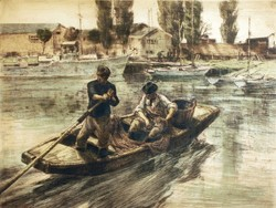 Udvary Pál (1900-1987) Halászok Színezett Rézkarc 26x36cm Metszet Siófoki Kikötő