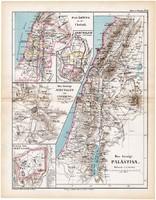 Palesztina térkép 1870, eredeti, német nyelvű, atlas, Kozenn, XIX. század, régi, Jeruzsálem, környék