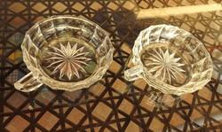 Régi csiszolt üveg füles kináló tál pár
