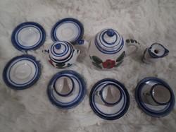 Kerámia - miniatűr teáskészlet - 12 db - AMI A KÉPEKEN LÁTHATÓ NEM LEPATTANÁS - MÁZHIBA