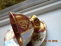 Arany brokát antik kézzel festett lovas,gyöngyház mázas, kávés csésze alátéttel ST WOLFGANG