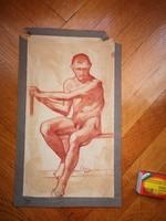 Csányi Lajos vörös ceruza rajz férfi akt