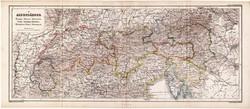 Alpok térkép 1870, eredeti, német, Svájc, Tirol, Salzburg, Krain, Stájerország, Savoya, Krain, régi