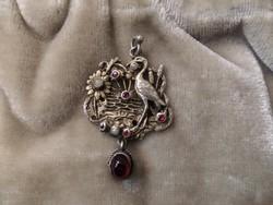 Szecessziós századfordulós ezüst medál