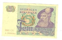 5 kronor korona 1981 Svédország