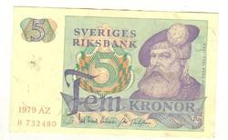 5 kronor korona 1979 Svédország