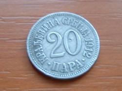 SZERBIA 20 PARA 1912 #
