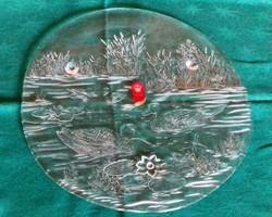 Vadkacsa mintás üveg tortatál, tálaló 33 cm