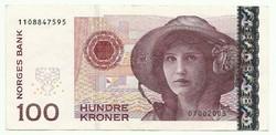 100 kroner korona 1999-2002 Norvégia
