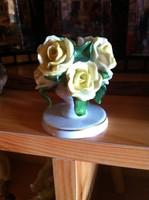 Herendi sárga rózsa gyertyatartó