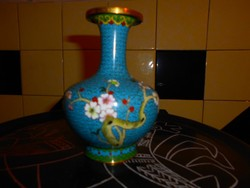 13 cm Tűz zománc-Rekesz zománc (Cloissoné)  váza - virág, madár motívum