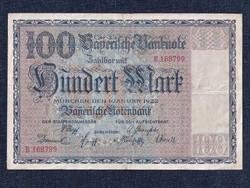 Nagyon szép Németország Weimari Köztársaság (1919-1933) papír 100 Márka bankjegy 1922 / id 11876/