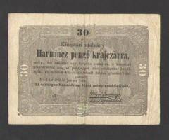 """Harmincz pengő krajczárra 1849.  """"r. ol."""" betűjeles!!  SZÉP BANKJEGY!!"""
