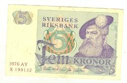 5 kronor korona 1976 Svédország