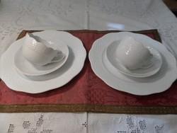 Fehér festetlen herendi páros - tányér+csésze