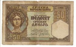 50 dinár 1941 Szerbia