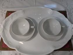 Fehér festetlen herendi páros teás csésze tálcával