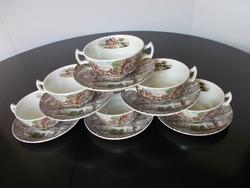 Gyönyörű vidéki jelenetes angol fajansz leveses csésze alátéttel, 6 személyes