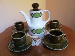 Colditz és Mitterteich Bavaria vegyesházasságú német porcelán méregzöld mázas retro kávés készlet