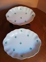 Herendi formájú és stílusú porcelán süteményes kínáló tál pár jelzés nékül arany szegéllyel