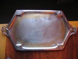 Antik, jugendstil ezüstözött tálca (78 cm!)