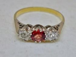 Szép antik rubin és brill 18kt arany gyűrű
