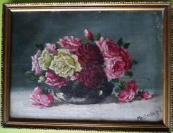 Mesterházy Dénes: Csendélet rózsákkal  1900 körül