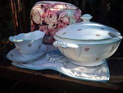 Gyönyörű hófehér alapon virágos Zsolnay leveses tál, hibátlan!