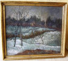 KAPOS NÁNDOR: Téli táj c. festménye (Képcsarnokos) garanciával
