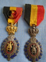 II.o. BELGA KIRÁLYI KITÜNTETÉS,Belga II. Lipót Rend Parancsnoki ? arany és ezüst fokozat