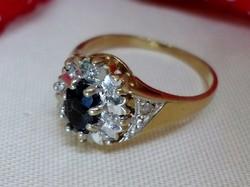 Gyönyörűséges antik valódi zafír és  brill arany gyűrű Akció!