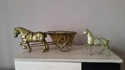 Gyönyörű, tömör réz ló kis szekérrel eladó!