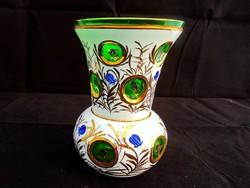Különleges kézzel festett mintás üveg váza