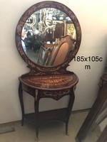 Intarziás francia tükörkonzol -fésülködő