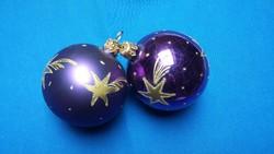 Két régi üveg gömb karácsonyfadísz