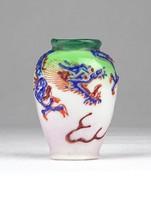 0Y454 Antik kisméretű sárkányos porcelán váza 5 cm