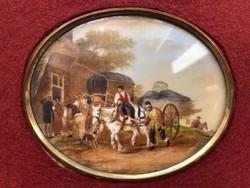 XIX. századi szignózott egyedi francia jelenetes miniatúra elefántcsonton