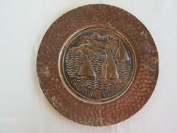 Balatoni emlék fém fali dísz dísztányér