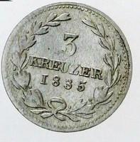 Ezüst 3 Krajcár Báden 1835 Ritka