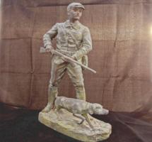 Henri Fugère (1872-1944): Vadász bronz szobor Szignált