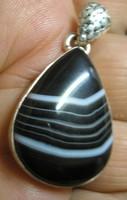 925 ezüst medál csepp alakú, botswana achát