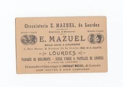 Chocolaterie E. Mazuel, de Lourdes reklám kártya