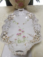 Szépséges kézi festésű antik áttört peremű porcelán nagy kínálótál ritkaság!