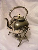 Rendkívül különleges, ritka, egyedi, 100 éves, antik, ezüstözött, melegítőállványos vízforraló kanna