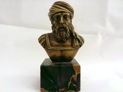 Csodás bronz büszt szobor miniatúra fekete márvány talapzaton