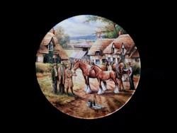 Wedgwood dísztányér vidéki életképpel (lóvásár)